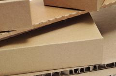 Cardboard boxes and corrugated cardboard Stock Photos