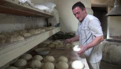 Bakery shop, bread preparation, dough, Georgia, South Caucasus, Europe Stock Footage