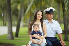 Military family in the park Kuvituskuvat