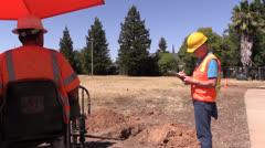 Construction foreman , equipment operator Stock Footage