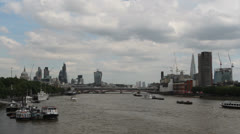 Boat and new additions to the London skyline Stock Footage