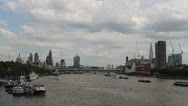 Stock Video Footage of Boat and new additions to the London skyline