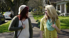 Pretty Teen Girls On Walk, Teen Boy Surprises Them And Gives Hug Stock Footage