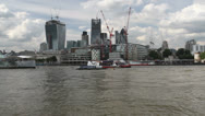 Stock Video Footage of Boats and new additions to the London skyline