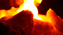 Fire and ice, flames in the night close-up Stock Footage