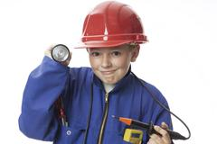 Boy with tools , smiling Stock Photos