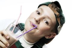 boy drinking milk shake - stock photo