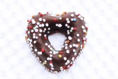 Fondant cookie with sugar beads - stock photo