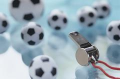 Soccer balls and whistle Stock Photos