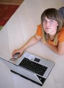 Woman with laptop and mobile phone, elevated view Stock Photos