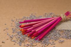 Lavender incense sticks with dried  lavender Stock Photos