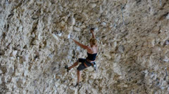 Female Rock Climber on Steep Conglomerate 4 Stock Footage