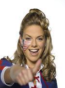 American female sports fan Stock Photos