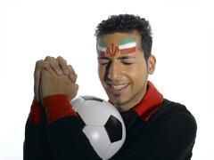 Male soccer fan from Iran Stock Photos