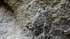 Female Rock Climber on Steep Conglomerate 7 Stock Footage