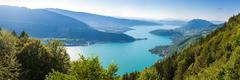 Panoramic view of the Annecy lake from Col du Forclaz - stock photo