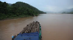 Laos Burma Myanmar Golden Triangle Mekong River LOGGING Stock Footage