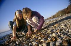 Two girls (8-11) picking stones on beach Stock Photos