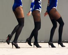 feet dancing women in black stockings - stock photo