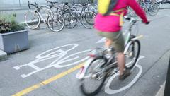 Urban Cycle Path Downtown Vancouver Stock Footage