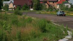 Old car Mercedes Benz 300SE approaching. Countryside view Stock Footage