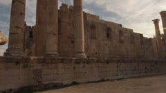 Jordan Jerash colums ruins tilt up Stock Footage