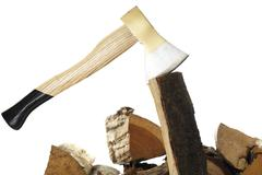 Axe and firewood, close-up - stock photo