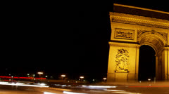 Arch of Triumph at night, Paris, France, Traffic time lapse HD - stock footage