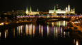 Moscow Kremlin embankment, night time, time-lapse. Footage