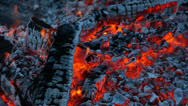 Stock Video Footage of Coals of the fire.
