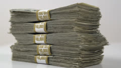 Stack of Fifty Thousand Dollars Stock Footage