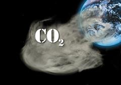 Carbon dioxide emissions and globe, digital composite - stock photo
