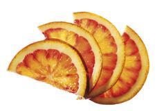 Diversifyed orange slices, elevated view, close-up - stock photo