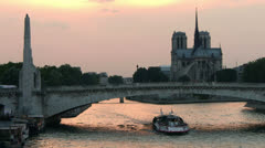 PARIS - River and Notre Dame Cathedral - stock footage
