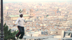 PARIS - Soccer in front of Paris Panoramic - stock footage