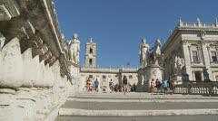 Piazza del Campidoglio steps, Rome 1 (Slomo dolly) Stock Footage