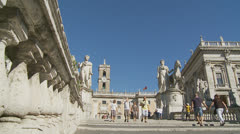 Piazza del Campidoglio steps, Rome 2 (Slomo dolly) Stock Footage