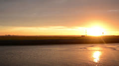 Large Sunset over water Panarama perfect for title sequence 160GYAP 5974 PAL. Stock Footage