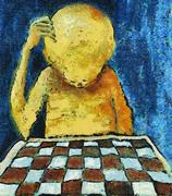Lonesome chess player Stock Illustration
