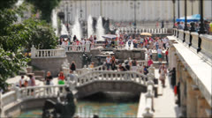 Fountains and people on Maneznaya Square, Moscow, Russia, tilt-shift. Stock Footage