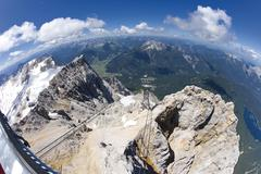 Germany, Bavaria, Zugspitze Mountain and Valley, elevated view Stock Photos