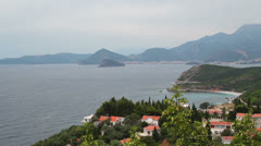 The sea and the mountains. view of Budva, Montenegro Stock Footage