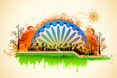 Indian citizen waving flag on tricolor flag Stock Illustration