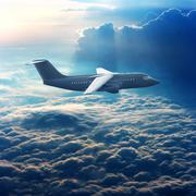 commercial plane in the sky - stock photo