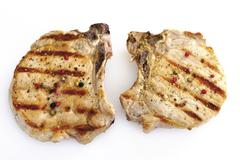 Grilled Pork chop, elevated view - stock photo