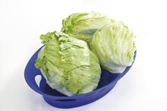 Iceberg Salad in plastic bowl, elevated view Stock Photos