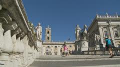 Piazza del Campidoglio steps, Rome 6 (Slomo dolly) Stock Footage