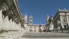 Piazza del Campidoglio steps, Rome 4 (Slomo dolly) Stock Footage