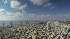 Tel Aviv city wide angle time lapse cloudscape Stock Footage