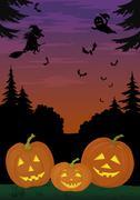 halloween landscape with pumpkins - stock illustration